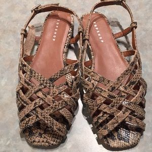 Topshop snakeprint leather sandals